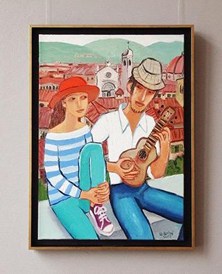 Krzysztof Kokoryn : Couple with ukulele : Oil on Canvas