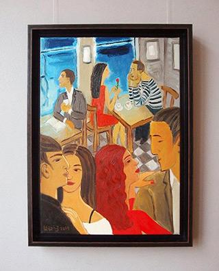 Krzysztof Kokoryn : People in a cafe : Oil on Canvas