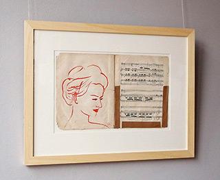 Jacek Łydżba : Madame : Tempera on old music sheet