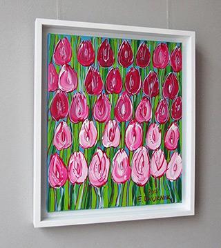 Edward Dwurnik : Pink tulips : Oil on Canvas