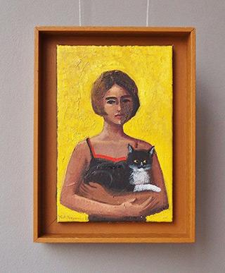 Katarzyna Karpowicz : Girl with a cat : Oil on Canvas