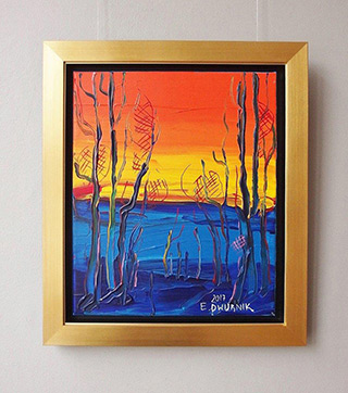 Edward Dwurnik : Beech forest at sunset No 2 : Oil on Canvas