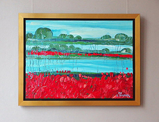 Edward Dwurnik : Poppies by the lake : Oil on Canvas
