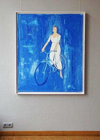 Jacek Łydżba : Cyclist blue : Oil on Canvas