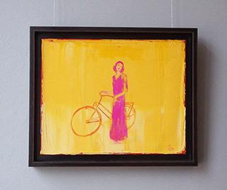 Jacek Łydżba : Cyclist pink : Oil on Canvas