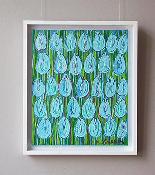 Edward Dwurnik : Light blue tulips : Oil on Canvas