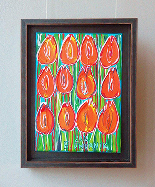 Edward Dwurnik : Orange tulips : Oil on Canvas