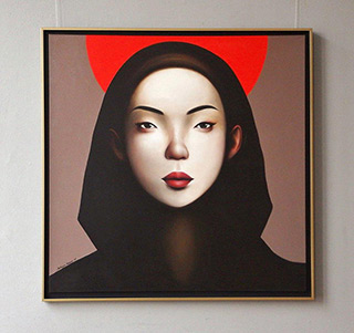 Katarzyna Kubiak : Japanese girl with a red halo : Oil on Canvas