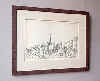 Edward Dwurnik : Car traffic on the river : Pencil on paper