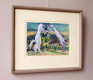 Edward Dwurnik : Dog couple : Watercolour on paper