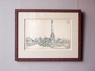 Edward Dwurnik : Place de la Bastille : Pencil on paper