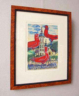 Edward Dwurnik : Three red birds : Watercolour on paper