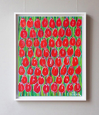Edward Dwurnik : Red tulips : Oil on Canvas