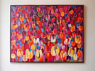 Beata Murawska : Purple Tulips Field : Oil on Canvas