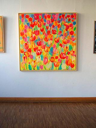 Beata Murawska : Square Tulips Field : Oil on Canvas