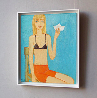 Krzysztof Kokoryn : Girl with a paper boat : Oil on Canvas