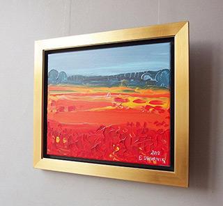 Edward Dwurnik : Orange meadow : Oil on Canvas