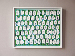 Edward Dwurnik : White tulips field : Oil on Canvas