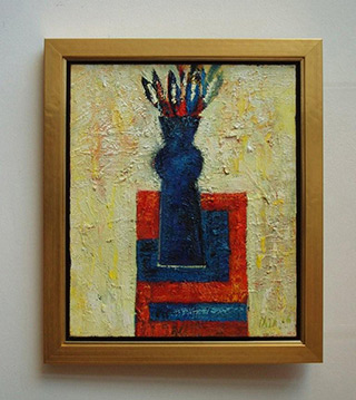 Darek Pala : Vase on white backrgound : Oil on Canvas
