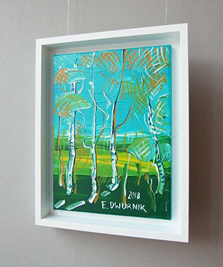 Edward Dwurnik : Sunny birches : Oil on Canvas
