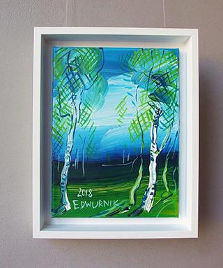 Edward Dwurnik : Two birches : Oil on Canvas