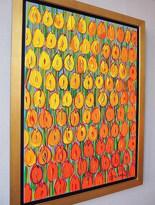 Edward Dwurnik : Yellow - orange tulips : Oil on Canvas