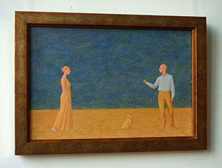 Mikołaj Kasprzyk : Couple And Cat : Oil on Canvas