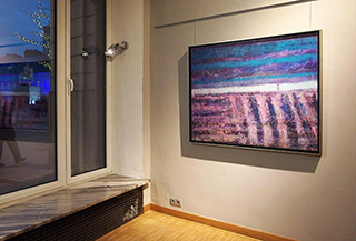 Martyna Merkel : Landscape with purple stripes : Oil on Canvas