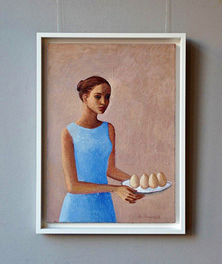 Katarzyna Karpowicz : Girl in a Blue Dress : Oil on Canvas
