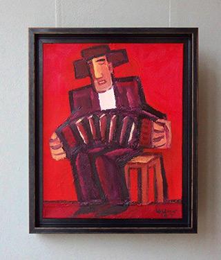 Krzysztof Kokoryn : Bandeon player wearing a hat : Oil on Canvas