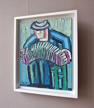 Krzysztof Kokoryn : Bandeon player on a green stool : Oil on Canvas