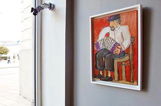 Krzysztof Kokoryn : Bandeon player wearing a cap : Oil on Canvas