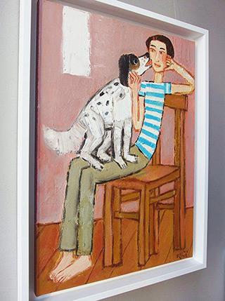 Krzysztof Kokoryn : Boy with a dog : Oil on Canvas