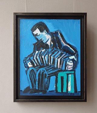 Krzysztof Kokoryn : Bandeon player on a stool : Oil on Canvas