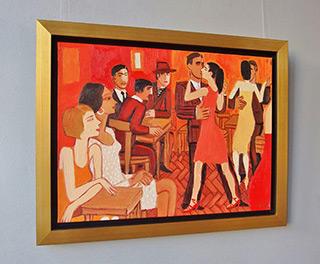 Krzysztof Kokoryn : Milonga in the red interior : Oil on Canvas