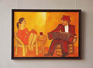 Krzysztof Kokoryn : Bandeon player and the girl : Oil on Canvas
