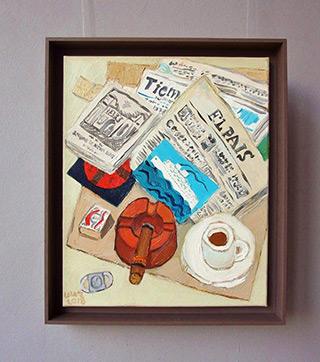 Krzysztof Kokoryn : Still life with El Pais : Oil on Canvas