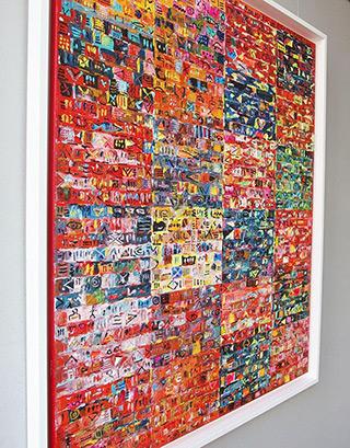 Krzysztof Pająk : Motherboard - orange : Oil on Canvas