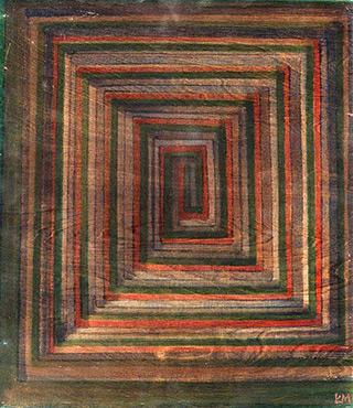 Łukasz Majcherowicz : Labyrinth of Shadows : Ink on wooden panel