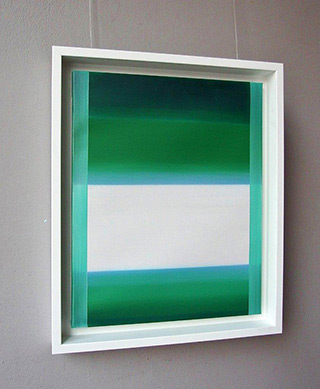 Anna Podlewska : White field on a juicy green : Oil on Canvas