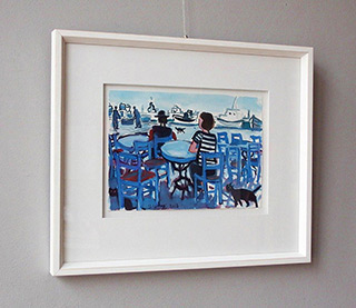 Krzysztof Kokoryn : Cafe at the marina : Tempera on paper
