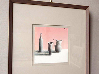 Łukasz Huculak : The pink wall : Tempera on paper