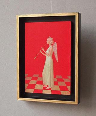 Mikołaj Kasprzyk : Angel with a clarinet : Oil on Canvas