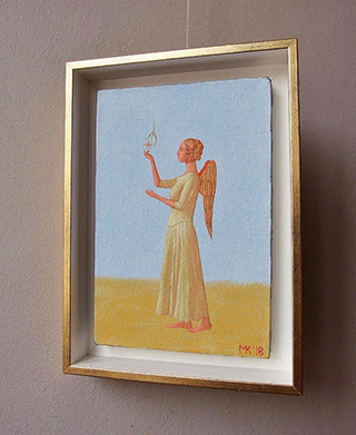 Mikołaj Kasprzyk : Angel with a falling flower : Oil on Canvas