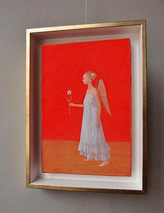 Mikołaj Kasprzyk : Angel with a flower : Oil on Canvas