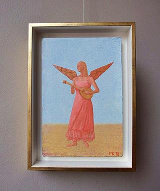 Mikołaj Kasprzyk : Angel with a lute on blue : Oil on Canvas