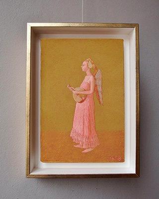 Mikołaj Kasprzyk : Angel with a lute on gold : Oil on Canvas