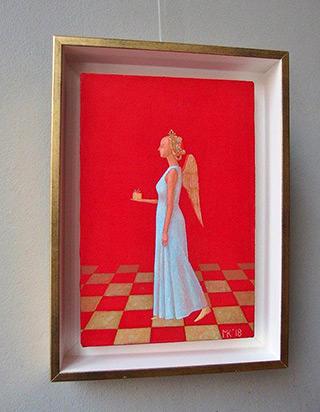 Mikołaj Kasprzyk : Angel with parcel : Oil on Canvas