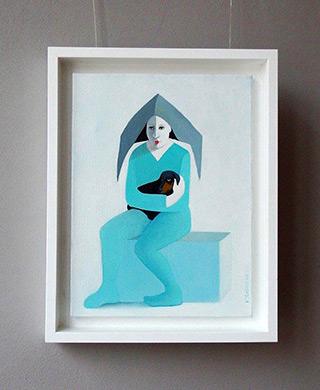 Katarzyna Castellini : Clown with a dachshund : Oil on Canvas