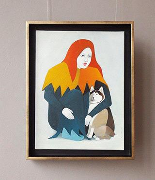Katarzyna Castellini : Clown with a dog : Oil on Canvas